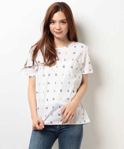 【TOMMY HILFIGER(トミーヒルフィガー)】ALL OVER LETTER LOGO TEE SS