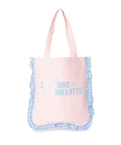 【PINK latte (Teen)(ピンク ラテ(ティーン))】PINK?latte×SPINNS フリルトートバッグ
