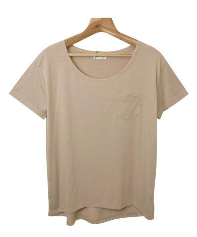 【and Me...(アンドミー)】Tシャツ レディース 半袖 カットソー UVカット Uネック クール素材 ゆるてろ トップス