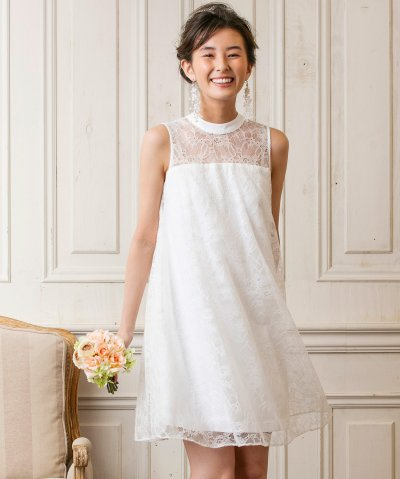 【form forma(フォルムフォルマ)】【ウェディングドレス】スタンドカラー Aラインショートウェディングドレス