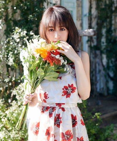 【MIIA(ミーア)】【セットアップ対応商品】オパール加工フリルブラウス