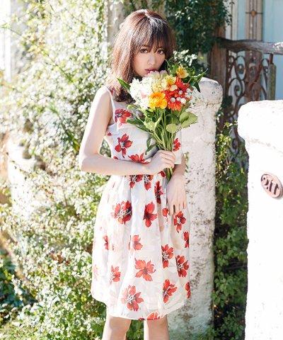 【MIIA(ミーア)】【セットアップ対応商品】オパール加工タックフレアースカート