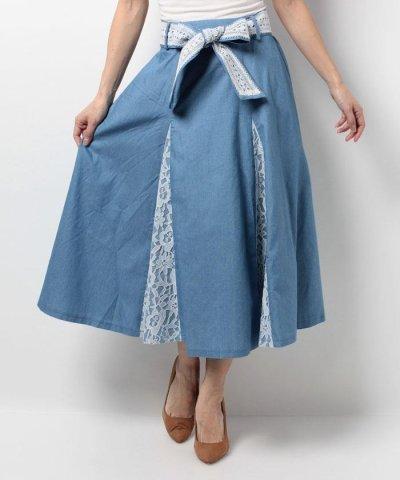 【axes femme(アクシーズファム)】切替パターンレースロングスカート