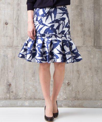 【LANVIN en Bleu(ランバンオンブルー)】【セットアップ対応商品】ペプラムスカート