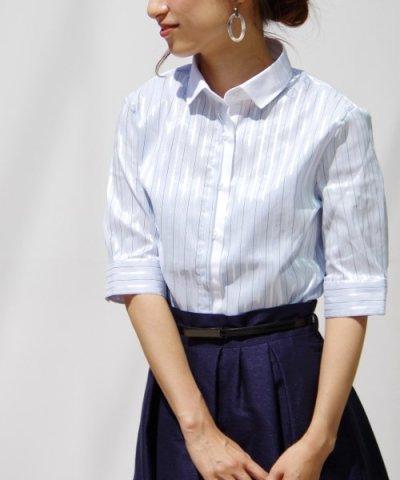 【NARA CAMICIE(ナラカミーチェ)】コントラストストライプ別布使い半袖シャツ