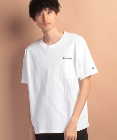 【JEANS MATE(ジーンズメイト)】【CHAMPION】ドロップショルダーポケットTシャツ