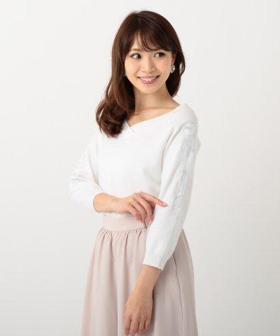 【MISCH MASCH(ミッシュマッシュ)】【Ray5月号掲載】袖刺繍ニット