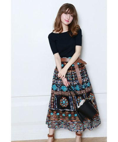 【Mystrada(マイストラーダ)】【VERY 6月号掲載】ネイティブ刺繍スカート