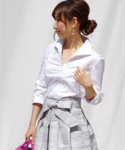 【NARA CAMICIE(ナラカミーチェ)】ピエゴリーネスタンドカラー七分袖シャツ