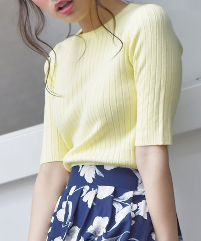 【KOBE LETTUCE(神戸レタス)】Uネック5分袖リブニット
