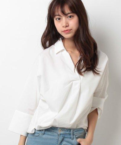 【Avan Lily(アヴァンリリィ)】サイドスリット5分袖スキッパーシャツ