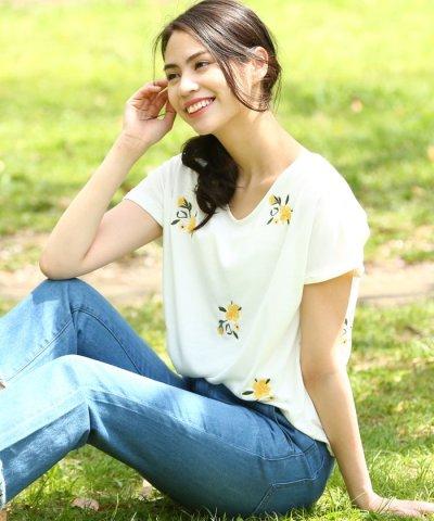 【ViS(ビス)】フラワー刺繍Tシャツ
