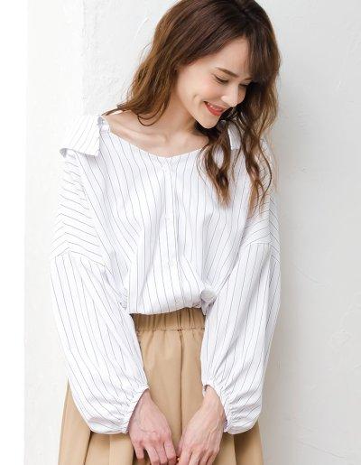 【Re:EDIT(リエディ)】ストラップ付きストライプシャツ