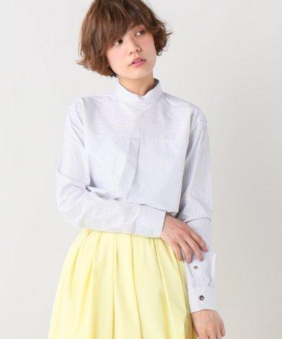 【IENA(イエナ)】COVERT スタンドストライプブラウス
