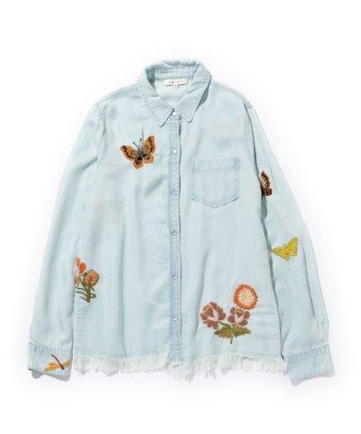 【ROSE BUD(ローズバッド)】(MM VINTAGE)フリンジ使い刺繍シャツ