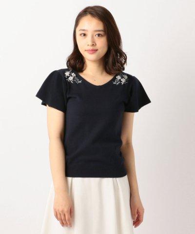 【MISCH MASCH(ミッシュマッシュ)】お花刺繍袖フレアニット