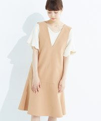 <dfashion> パッと着て今気分&長い季節着られる すそフレアージャンパースカート画像