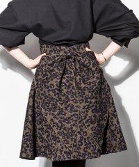 <dfashion>  et momonakia(エ モモナキア) ジャガードレオパードバックリボンスカート画像