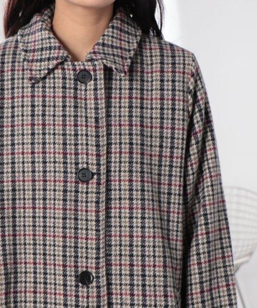ウール ブレンド チェック ステン カラー コート