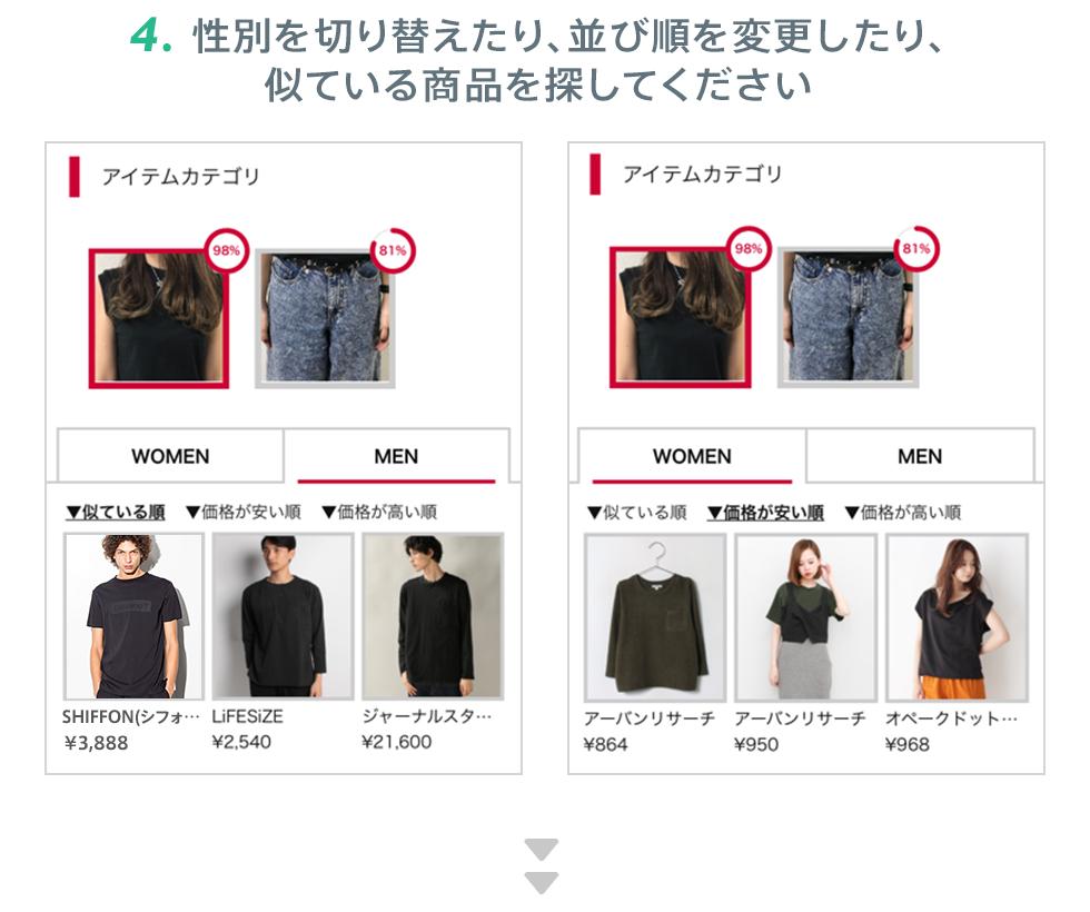 4.性別を切り替えたり、並び順を変更したり、似ている商品を探してください