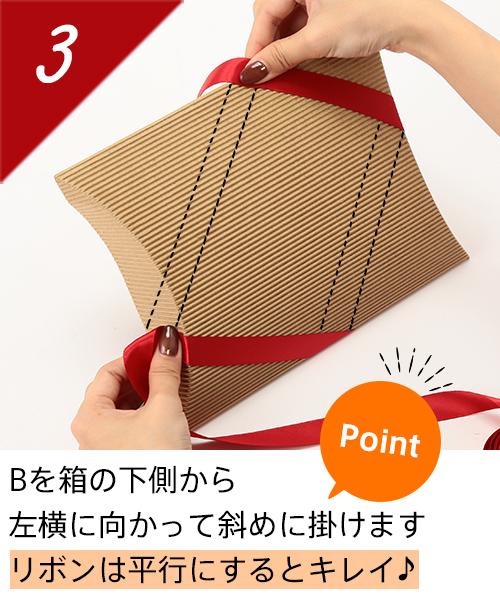 Bを箱の下側から左横に向かって斜めに掛けます Point ★は平行にするとキレイ♪