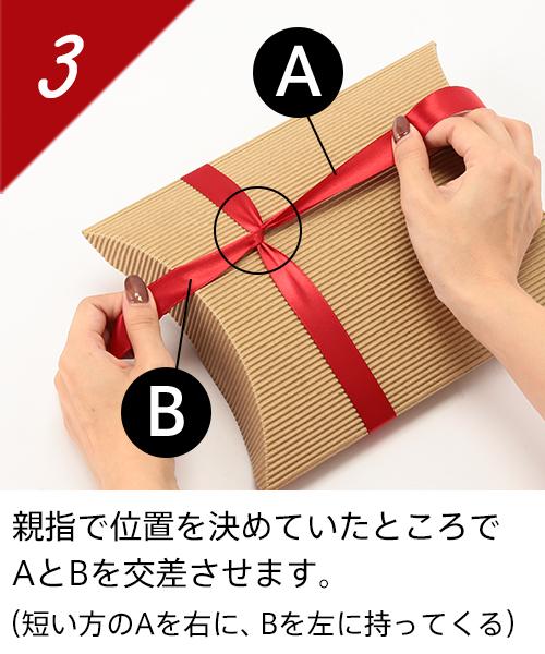 親指で位置を決めていたところでAとBを交差させます。(短い方のAを右に、Bを左に持ってくる)