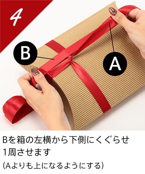 Bを箱の左横から下側にくぐらせ1周させます(Aよりも上になるようにする)