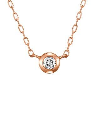 0.06ctダイヤモンドベゼル ピンクゴールドネックレス