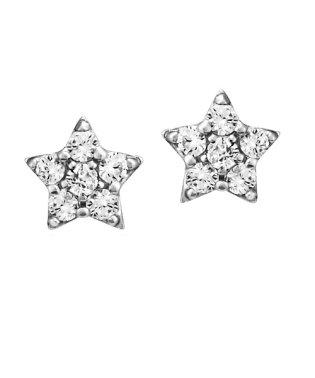 K10ホワイトゴールド星モチーフキュービックジルコニアピアス