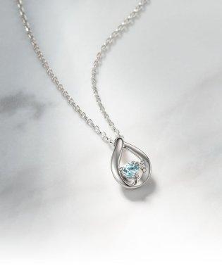 4℃エターナルシルバー ダイヤモンド アクアマリンしずくネックレス
