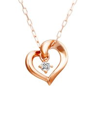 K10ピンクゴールドハートダイヤモンドネックレス