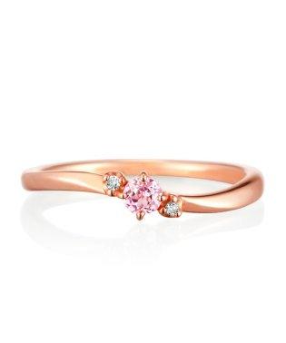 K10ピンクゴールド一粒シンセティックサファイヤ/ダイヤモンドリング