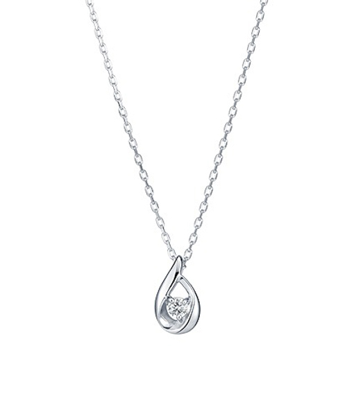 ダイヤモンドしずくプチネックレス( WG)