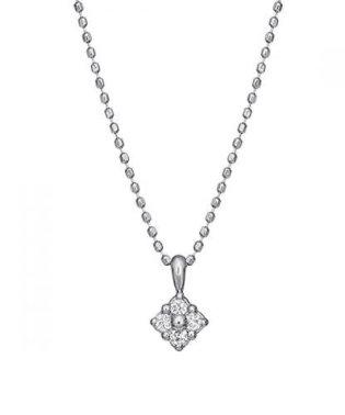 ダイヤモンド4セキフラワーネックレス(WG)