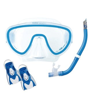 ツサ/軽量コンパクト旅行向けシリコーンマスク+スノーケル+フィン3点セット