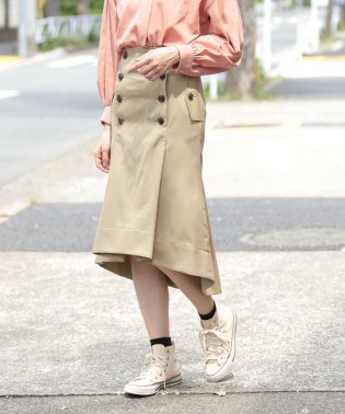 ultimate pima twill trench tuck skirt