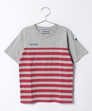 ボーダープリントVネックTシャツ