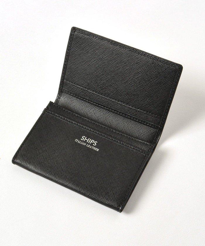 (SHIPS MEN/シップス メン)SHIPS:【SAFFIANO LEATHER】イタリアンレザー カードケース (名刺入れ)/メンズ ブラック