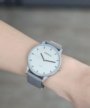 シルバー文字盤腕時計/queite