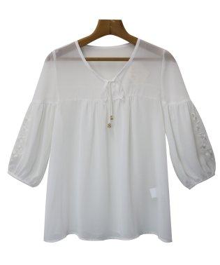 ブラウス レディース 刺繍 レース シフォン フレアスリーブ フレア袖 長袖