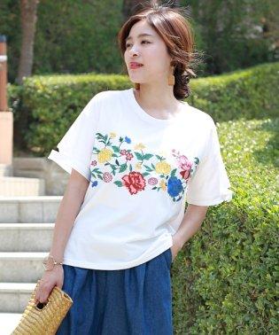 フロント花柄刺繍Tシャツ