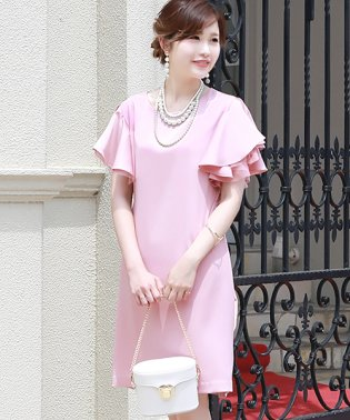 【WEB限定】【結婚式・二次会・入学式】フレアスリット袖ドレス