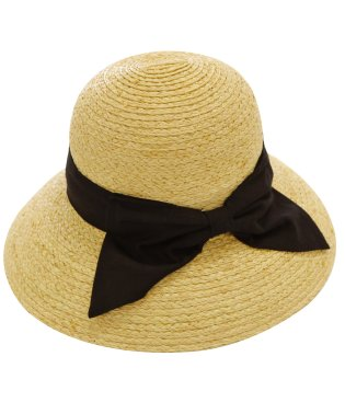 ハット レディース ラフィア 100% 麦わら 帽子 つば広 キャペリン りぼん