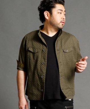 <大きいサイズ>市松柄7分袖ジャケット