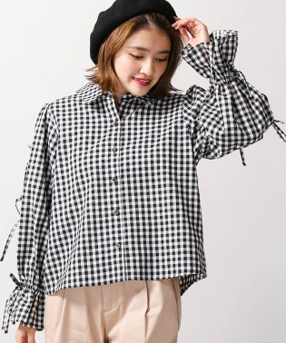 WEGO/ギンガムチェックリボンシャツ