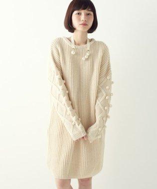パプコーン編みがかわいい おしゃれニットワンピ