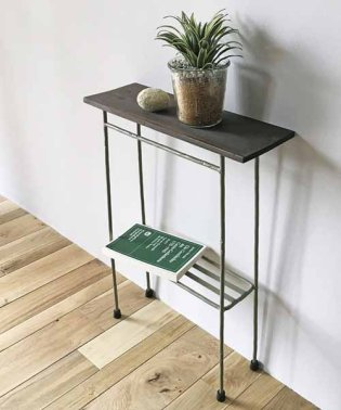 スリムで少し背の高い ちょい置き細長テーブル<ヴィンテージオリーブ>