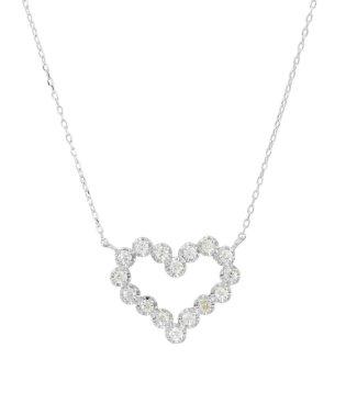 K18WG 天然ダイヤモンド 16石 0.2ct ハートネックレス