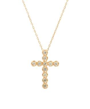 K18PG 天然ダイヤモンド 11石 0.2ct クロスネックレス