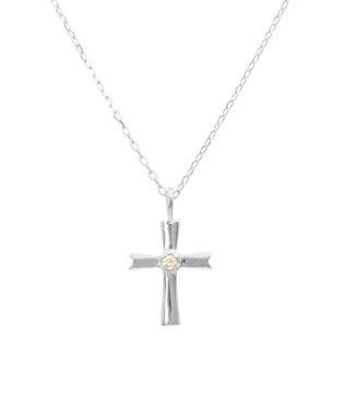 クロス/K10WG 天然ダイヤモンド ネックレス